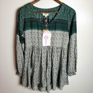 NWT Umgee Long Sleeve Boho Blouse